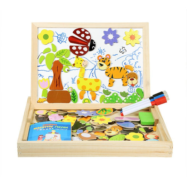 Infinitoo Magnetic Jigsaw Puzzles 100 Pieces Educational Wooden Toy for Kids 3 4 5 Years Old Double Sided Magnetic Drawing Board with 3 Color Pens