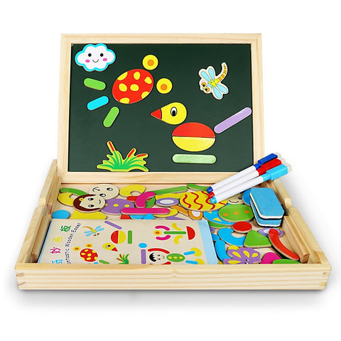 Infinitoo Tech Magnetic Jigsaw Puzzles Educational Wooden Toy for Kids 3 4 5 Years Old | Double Sided Magnetic Drawing Board with 3 Color Pens | Human&Animal Theme | 70 Pieces