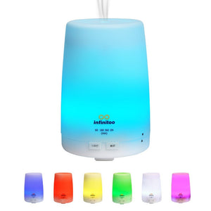 Infinitoo Aroma Diffuser 300ml Aromatherapy Diffusers, Essential Oil Diffuser with Cool Mist Humidifier with Adjustable Time Mode, Waterless Auto Off Air Purifiers/7 Color LED Lights Changing for Home Office Baby