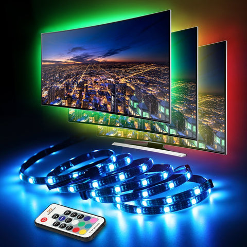 LED TV Backlight, infinitoo LED Lights 4 * 50CM Set, USB LED Strip Light 5050 RGB with Remote Control for 40-60 inch HDTV, PC Monitor, Desktop, Tables [Energy Class A +++] [Energy Class A+++]