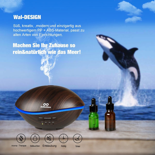 Infinitoo 500ml Wood Grain Essential Ultrasonic Humidifier Portable Aromatherapy Diffuser with Cool Mist and 7 Colour Changing LED Lights Aroma Diffuser, Waterless Auto off Air Purifiers