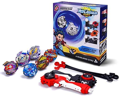 infinitoo Set of 6 Pcs Bey Battling Top Burst, 4D Fusion Model Metal Masters Acceleration Launcher, 2 Throwers Set with Launcher, Speed Spinning Top, Blade Best Gift for Children Kids Toys
