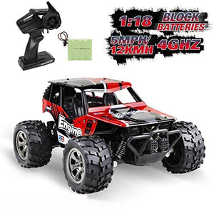 infinitoo Remote Control Car, High Speed Off-Road Vehicle 1:18, Auto 12km/h 2.4GHz, Electric Racing Car Toys, RC Buggy Vehicle Truck, Buggy Crawler Toy Car for Kids and Adults