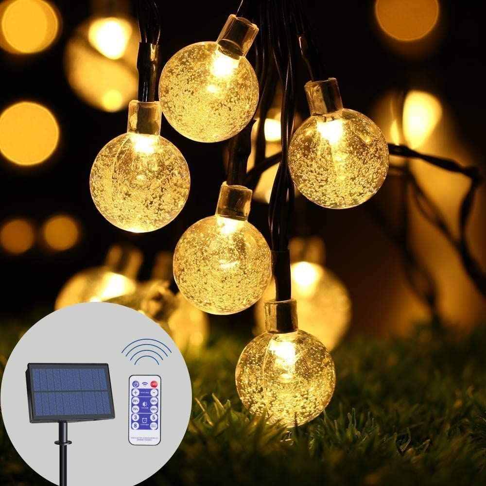 infinitoo Solar String Lights Outdoor, 19.8 Feet 40 LED Crystal Balls, Waterproof Globe Solar Powered, Globe Fairy String Lights for Yard Patio Balcony Garden Party Holiday Deco (Warm White)