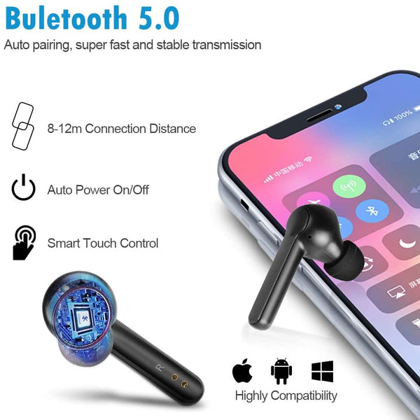 infinitoo Touch Control Wireless Earbuds, Bluetooth 5.0 Stereo Headphones TWS In-Ear Touch Control Earphones with Mic, 24 Hrs Playtime, Noise Cancellation