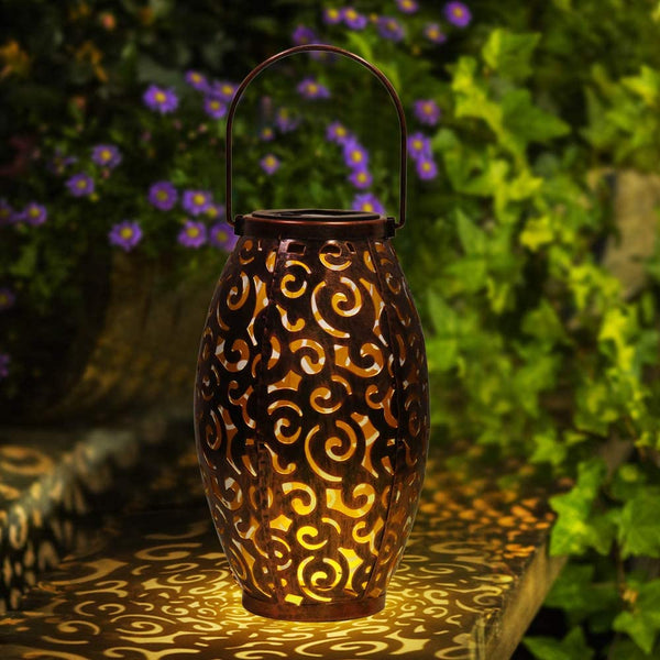 infinitoo Solar Lantern, Outdoor Waterproof Garden LED Solar Light, Hanging Decorative Metal Solar Powered Lantern for Garden, Patio, Yard and Table