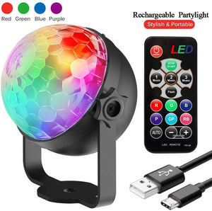 infinitoo Party Lights, Rechargeable Disco Lights 4 Colours RGBP DJ Lights, Remote Control Music Activated RGB led lights Magic Rotating stage lighting for Home Room Dance Parties, Bar Karaoke, Xmas Party, Wedding Show Club