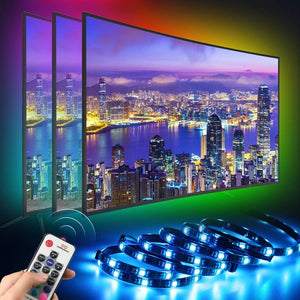 infinitoo LED TV Backlight, 6.56ft/2M Colorful 5050 RGB LED Strip Lights for 40-55 Inch HDTV with 17 Keys Remote Control for TV, Computer, Monitor