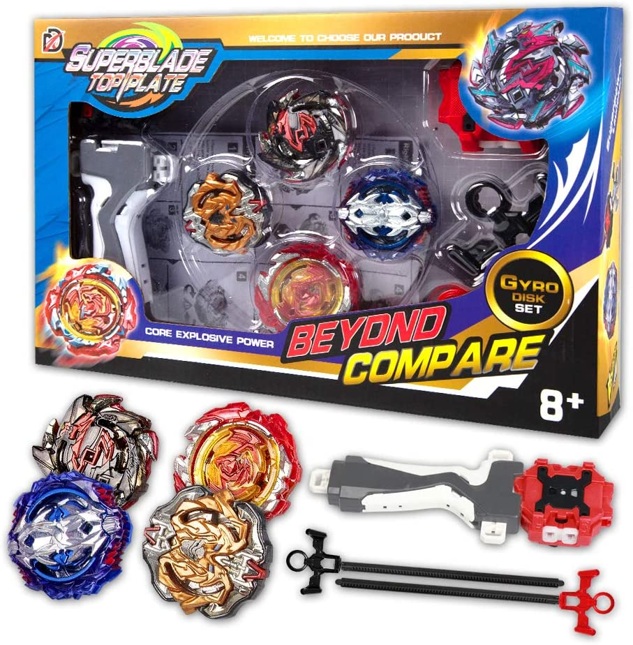 infinitoo Bey Battling Top Burst | 4 Pieces Speed Gyro Metal Combat Gyro Set | 4D Fusion Model Burst Evolution Combination Series with 2 Launcher Toys for Kids