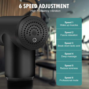 Innoo Tech Massage Gun, Percussion Electric Muscle Massager, Portable Handheld Body Deep Muscle Massager for Relieving Muscle Soreness, with 4 Replaceable Massage Heads, 6 Adjustable Speeds-Black