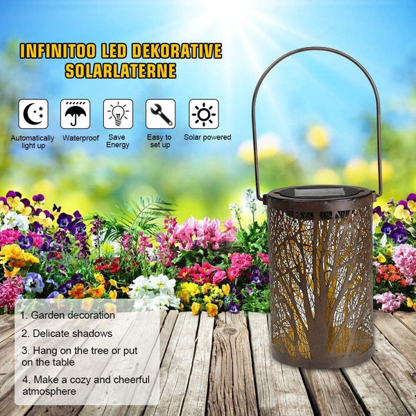 infinitoo Solar Lantern Outdoor, Hanging Lanterns Solar Lights, Garden Lantern Patio Decor, Metal Yard Art Garden Accessories Outdoor Decorations for Porch