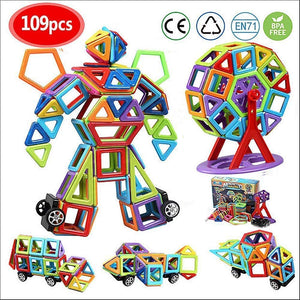infinitoo Magnetic Building Blocks, 109 Piece Magnetic Shapes, ABS Safety Plastic, Instruction Booklet Included, Construction Toys Educational Toys for Toddlers Kids for children