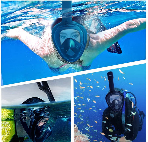 infinitoo Diving Mask Full Face Mask Snorkeling Mask with 180° Field of View and Camera Stand | Silicone Seal Anti-fog, Anti-leak and Waterproof for children and adults, Black