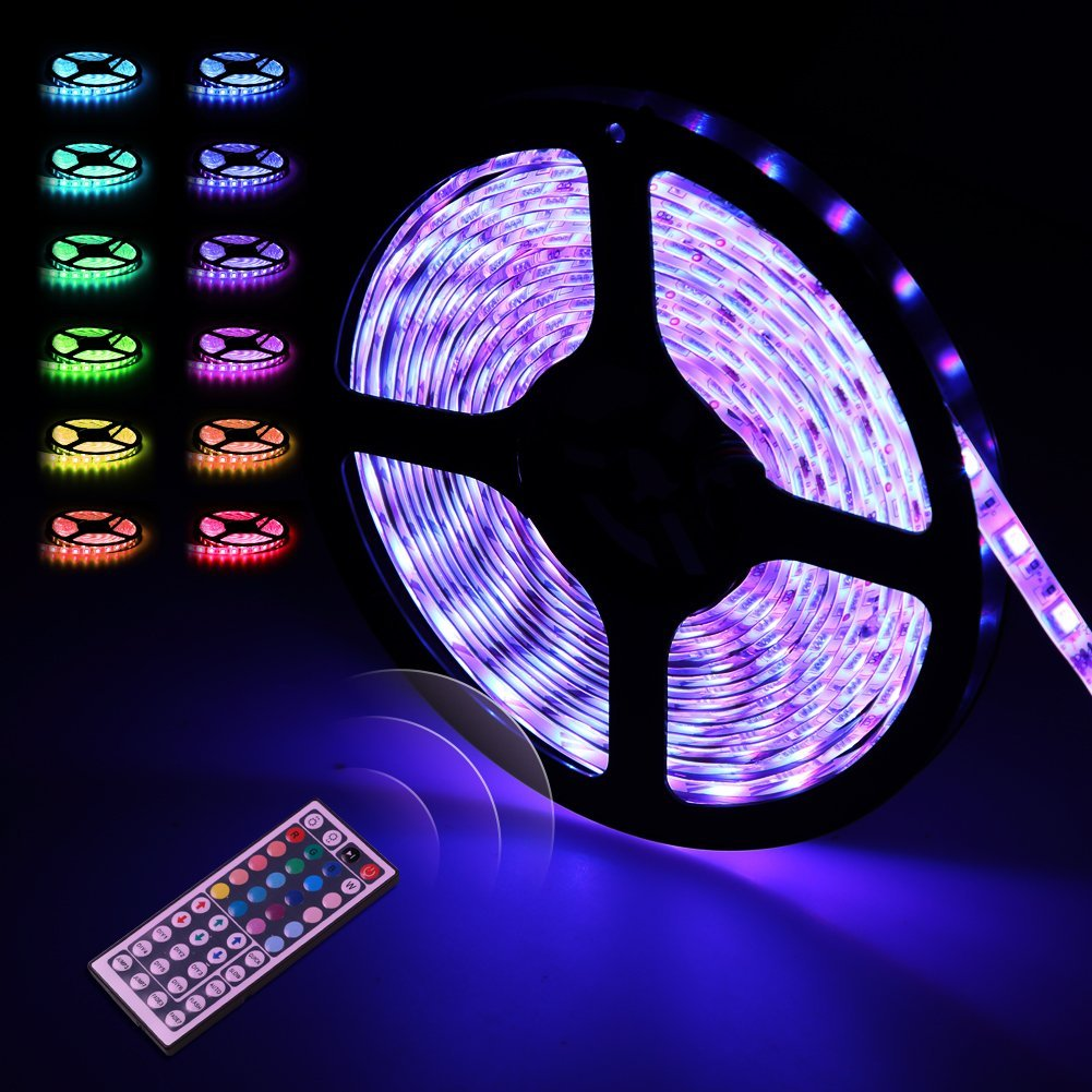 newest 7b580 47714 LED Strip Lights, infinitoo 5M 5050 RGB 300 LEDs with remote control 44  keys, waterproof LED Light, multicolored bands for lighting and kitchen,  under ...