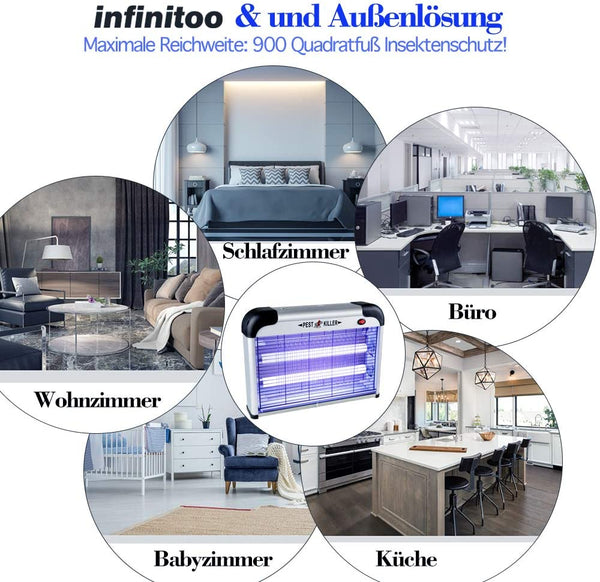 infinitoo Fly and Insect Killer 25W UV light Attract to Zap Flying Insects Playing Excellent Role as Bug Zapper, Mosquito Killer, Fly Zapper, Fly Killer, Fly Swatter, Wasp Killer