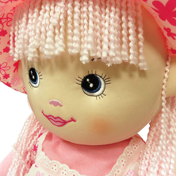 infinitoo Toy Dolly Pink Sunhat Rag Doll Wool Hair