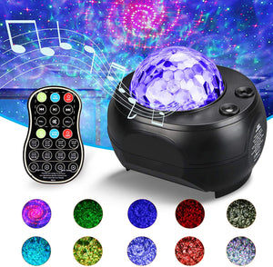 infinitoo Starry Sky Light Projector, Night Light Ambiance with Bluetooth Speaker, 13 Color Night Lamp with Remote Control, Night Light for Kids Parties Home Show Bar Club Birthday