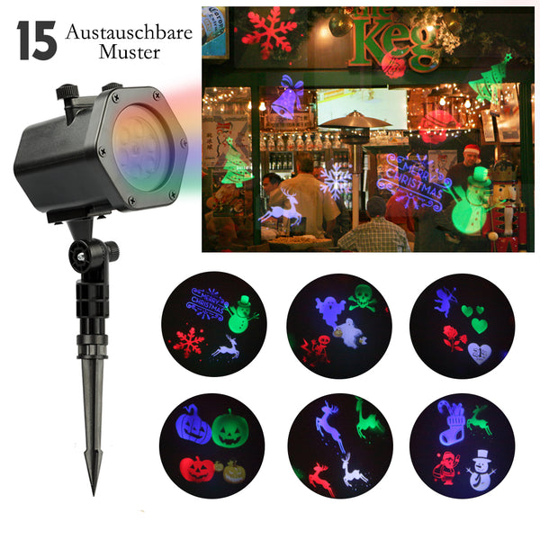 LED projector | infinitoo 15 Interchangeable patterns and 4 colors light effect for indoor / outdoor lighting, wall decoration and garden light, ideal lighting for parties, All Saints Day, Christmas