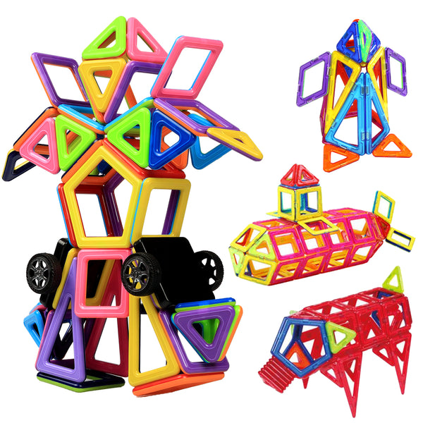 Infinitoo Magnetic Building Blocks, Magnetic Building Tiles, 76+1 Pieces Magnetic Shapes, ABS Safety Plastic, Instruction Booklet Included, Construction Toys Educational Toys for Toddlers & Kids
