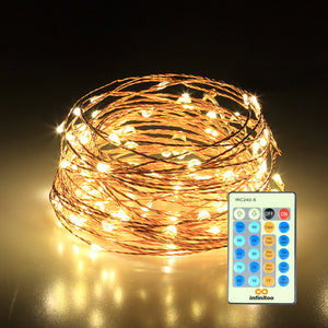 infinitoo LED Fairy Lights, 10 Meters 100 LED Copper Wire Fairy Lights Warm White with Remote Control