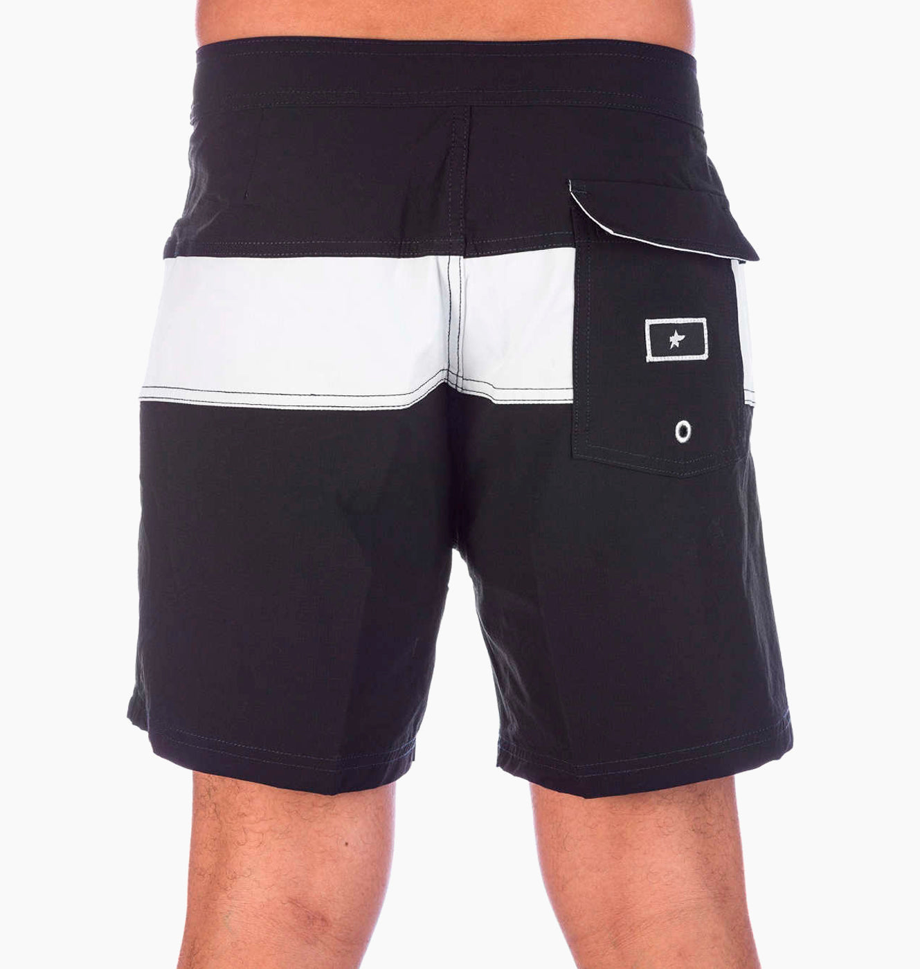 Pukas Surf Black on White Summer Surf Striped Mens Boardshorts