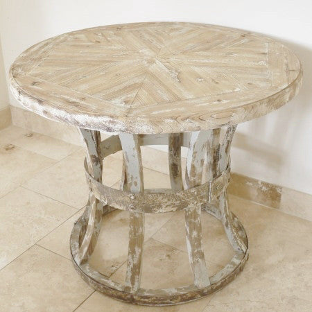 Abra rustic round table full view