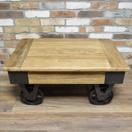 Carpi rustic wheeled coffee table full view