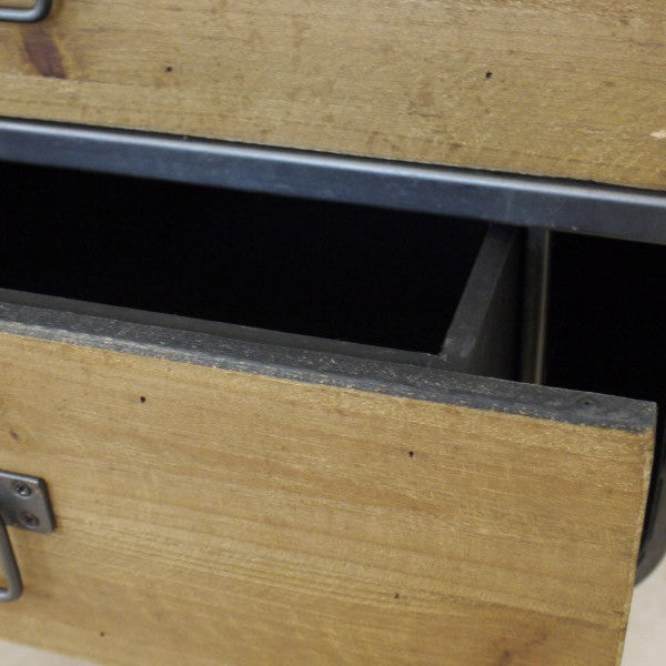 Monza small retro industrial cabinet close up open drawer