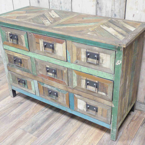 Multi-Coloured Nine Drawer Cabinet
