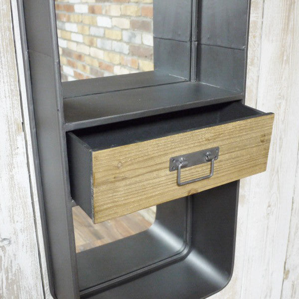 Pistoia retro industrial wall unit drawer open