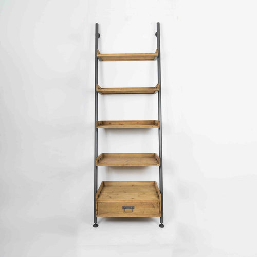 Rho minimal wooden ladder style shelving unit