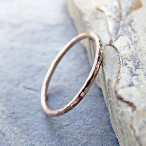 9ct round Gold ring | 9ct Textured Gold & Rose Gold ring