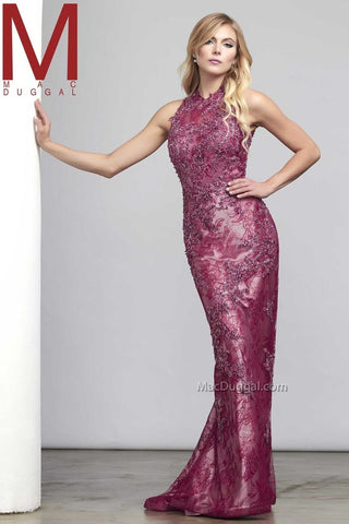 Mac Duggal Beaded Sleeveless Lace Dress