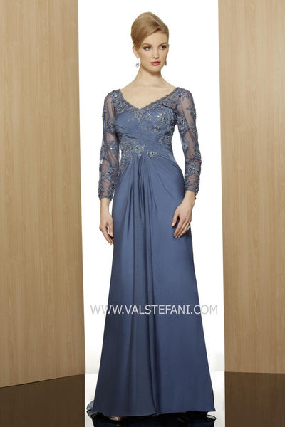 Val Stefani Blue Lace Floral Long Sleeve Dress