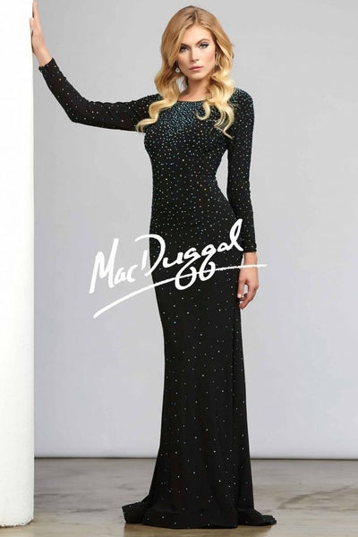 Mac Duggal Long Sleeved Open Back Embellished Dress