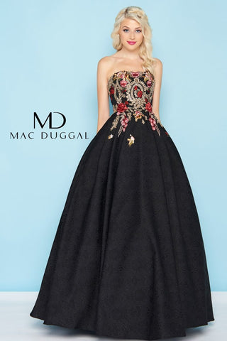 Mac Duggal Brocade Rose Gown