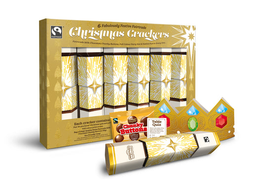 The UK's first Fairtrade certified crackers. Meaningful Christmas Crackers-6  per box, full colour crown,bag of Swiss Milk Chocolate  Buttons,eco friendly snap.