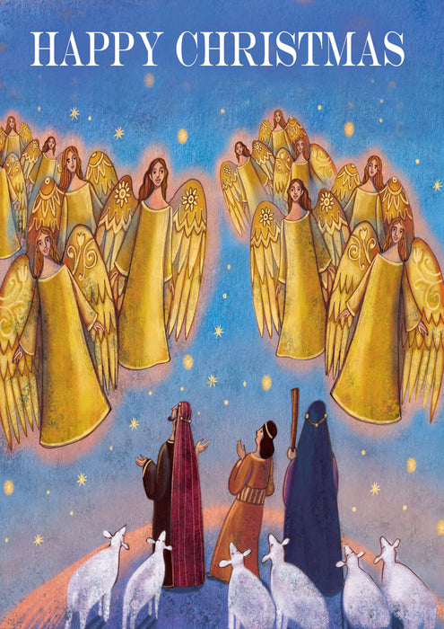 Personalised Happy Christmas Gold Angels Card