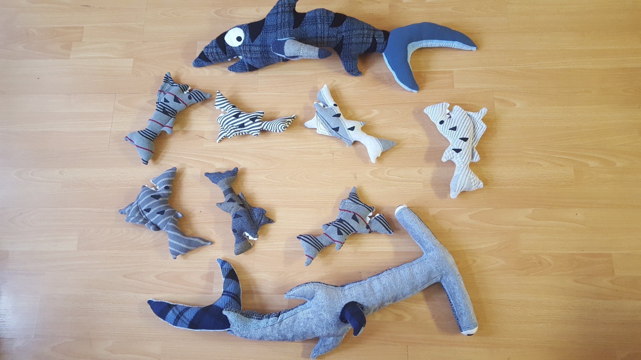 Sharks, stuffed animals
