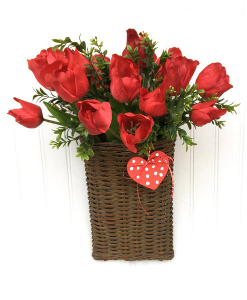 Red Tulip Basket