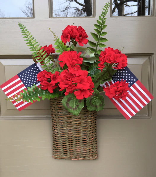 Patriotic Red Geranium Door Basket