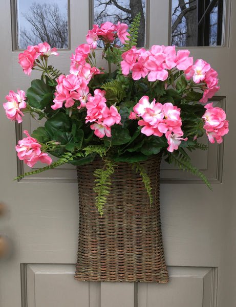 Fabulous Pink Geranium Door Basket