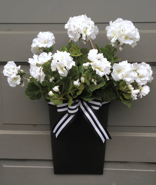 White Geranium Door Planter