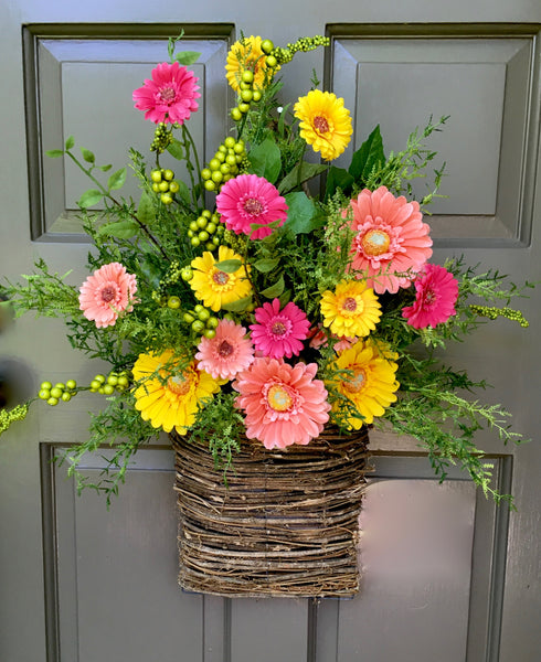 Gerbera Daisy Door Basket