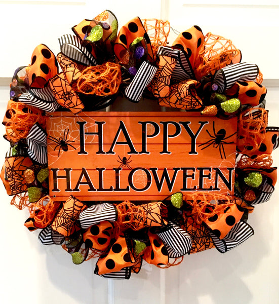 Happy Halloween Ribbon Wreath