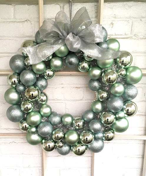 Silver & Blue Ornament Wreath
