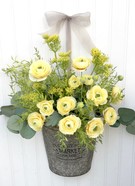 Farmhouse Yellow Ranunculus Door Planter