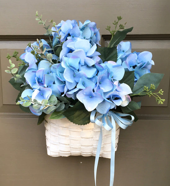 Blue Hydrangea Door Basket