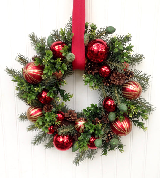 Ornament & Boxwood Wreath
