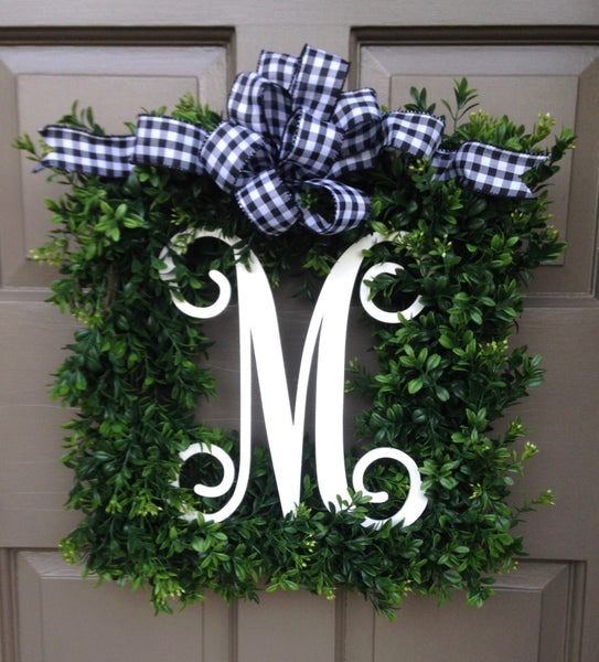 Monogram Boxwood Wreath (Black/White Check Bow)